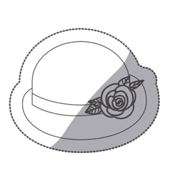 Sticker contour bowler hat with roses retro design vector