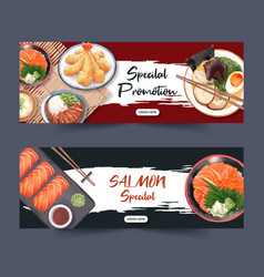 Template for banners creative sushi set pictures vector