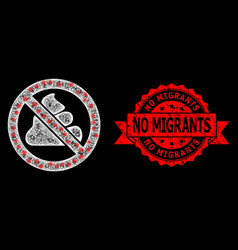 Textured no migrants stamp and bright polygonal vector