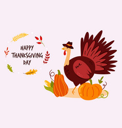thanksgiving design with funny turkey in hat and vector image
