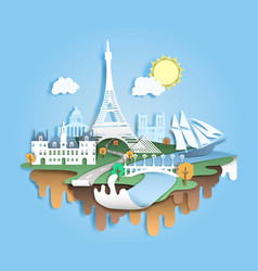 travel to paris paper cut vector image