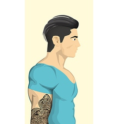 Trendy Men with abstract tattoo vector image