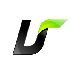 U letter black and green logo design fast speed vector