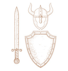 warrior equipment - sword shield horned helmet vector image