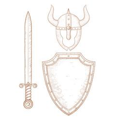 warrior equipment - sword shield horned helmet vector image
