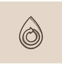 Water drop with circular arrow sketch icon vector