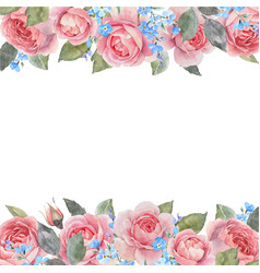 watercolor rose floral frame vector image