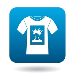 White shirt with print of man portrait icon vector
