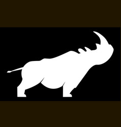 white silhouette of a rhinoceros vector image