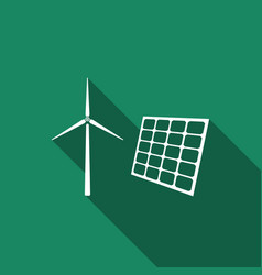 wind mill turbines and solar panel icon vector image