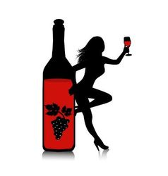 Wine-woman vector