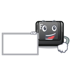 With board button e isolated with character vector