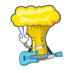 with guitar chanterelle mushroom mascot cartoon vector image