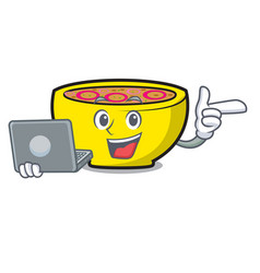 with laptop soup union character cartoon vector image