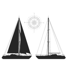 Yachts isolated on white background vector image