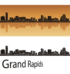 Grand Rapids skyline in orange background vector image vector image