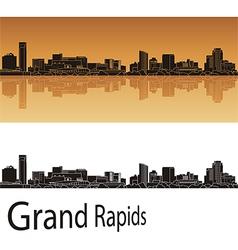 Grand Rapids skyline in orange background vector image