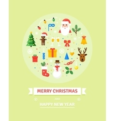 Greeting Christmas and New Year card Winter vector image