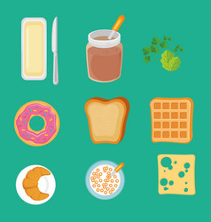 Set of breakfast icons vector