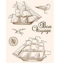 Set of vintage hand drawn sailing ships vector image vector image