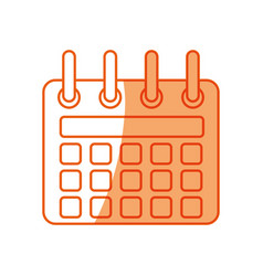 silhouette calendar symbol icon design vector image