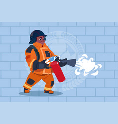 African american fireman hold extinguisher wearing vector