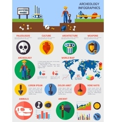 Archeological Infographics With Elements Of vector image
