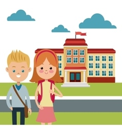 back to school study building boy and girl vector image vector image