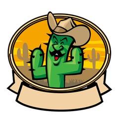 cactus cowboy cartoon vector image vector image