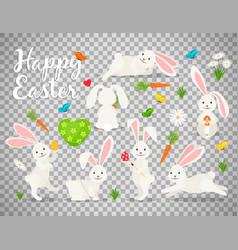 easter bunny set on transparent background vector image