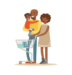 Black Family With Cart Shopping In Department vector image vector image
