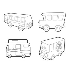 bus icon set outline style vector image vector image