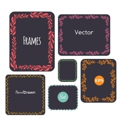 Color hand drawn frames set elements vector image vector image
