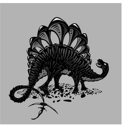 dinosaur silhouette on isolated background black vector image