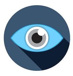 eye flat icon with lobg shadow vector image vector image