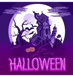 Halloween poster with castle tree and zombie vector image