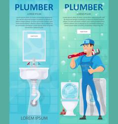 plumbing vertical banners vector image vector image