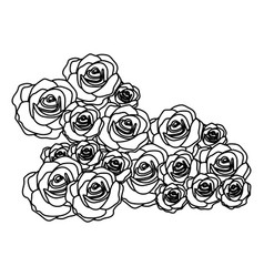 Silhouette bud roses floral design vector