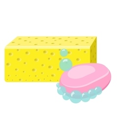 Soap Sponge And Foam Bubbles Cleaning supplies vector image vector image