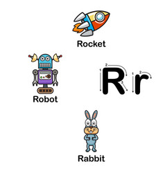 alphabet letter r-rocket robot rabbit vector image