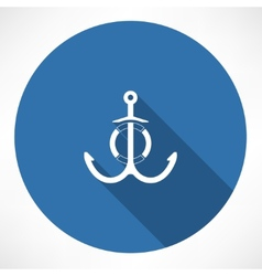 anchor and Life Buoy vector image vector image