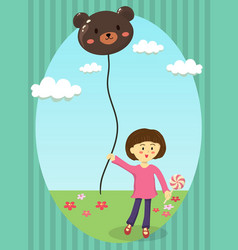 girl holding bear balloon vector image vector image