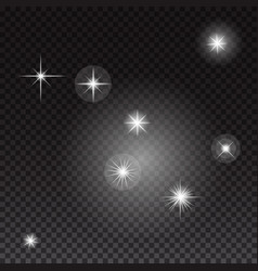 glowing lights and stars on transparent background vector image vector image