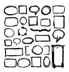 Hand drawn rough paintbrush frames isolated on vector image