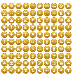 100 park icons set gold vector