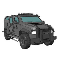 3d armed military vehicle on white background vector
