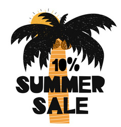 Advert card with lettering 10 summer sale wit palm vector