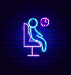 Airport waiting room neon sign vector