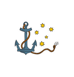anchor with rope and southern cross star drawing vector image