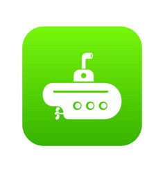 Bathyscaphe with periscope icon green vector